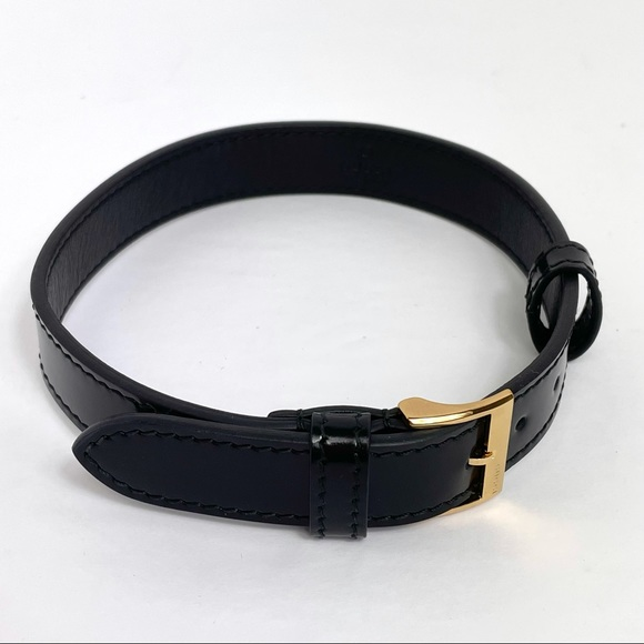 Gucci Black Leather Buckle Choker Necklace Jewelry